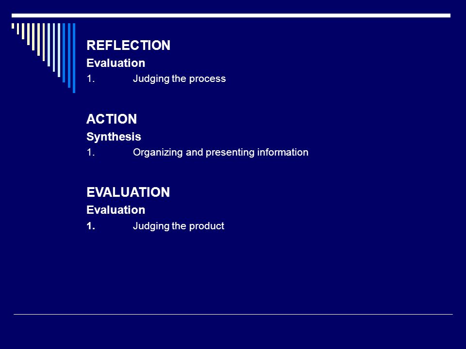 REFLECTION ACTION EVALUATION Evaluation Synthesis