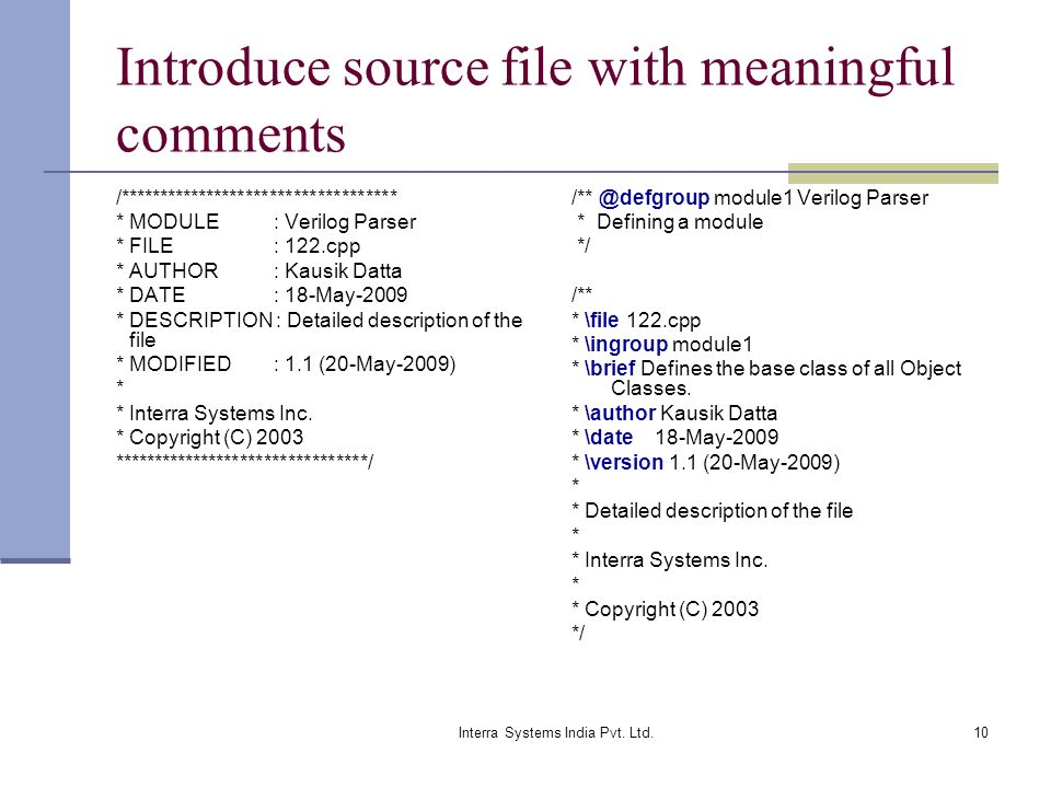 Introduce source file with meaningful comments