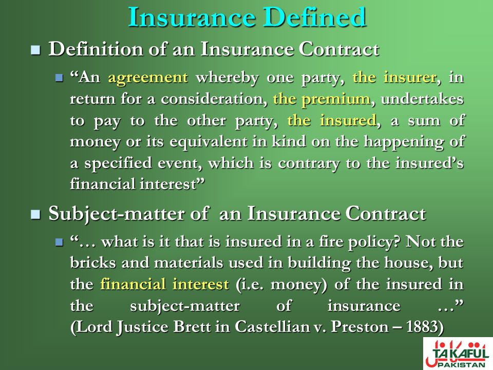 Insurance Defined Definition of an Insurance Contract