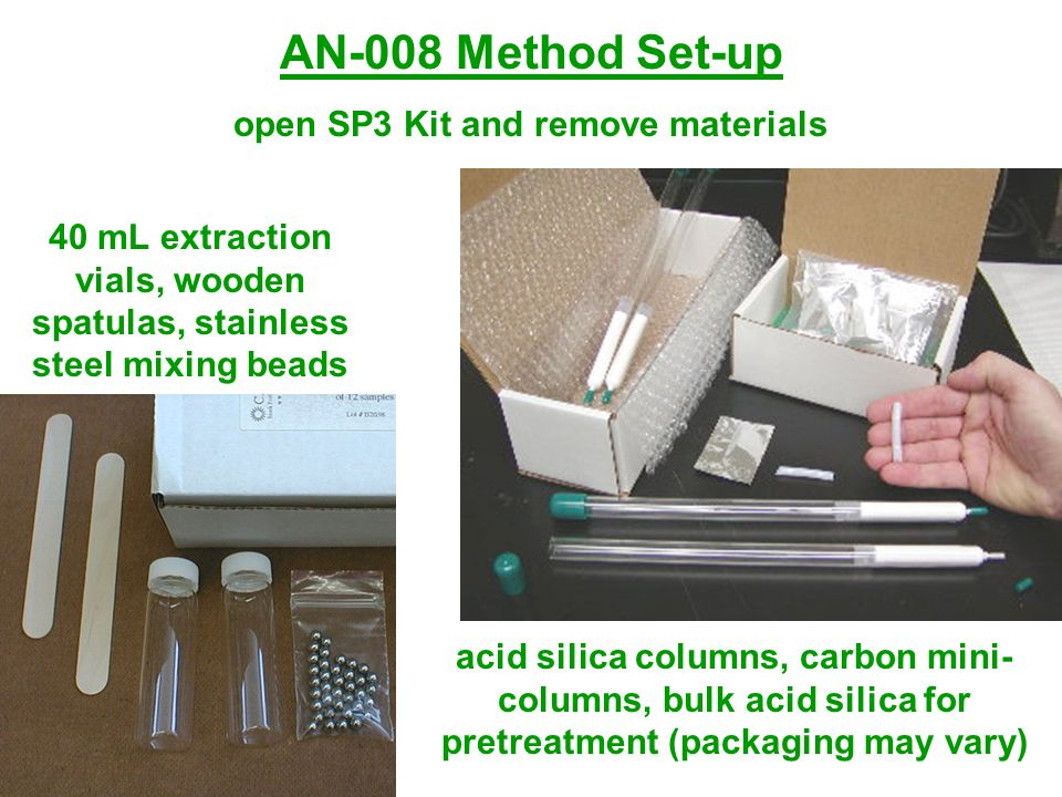 AN-008 Method Set-up open SP3 Kit and remove materials