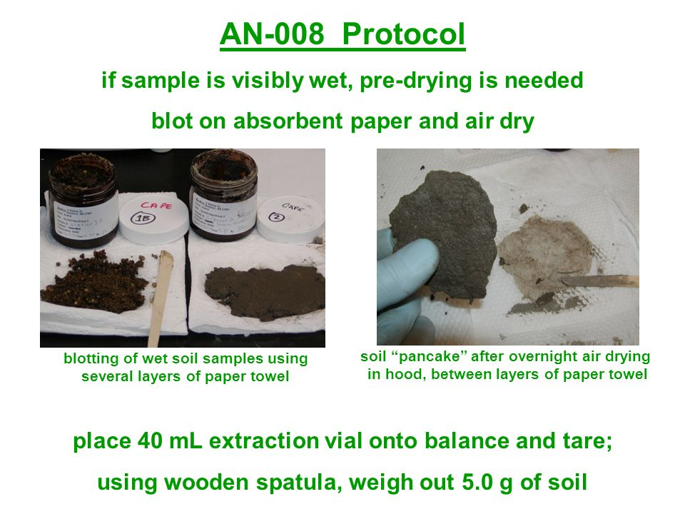AN-008 Protocol if sample is visibly wet, pre-drying is needed