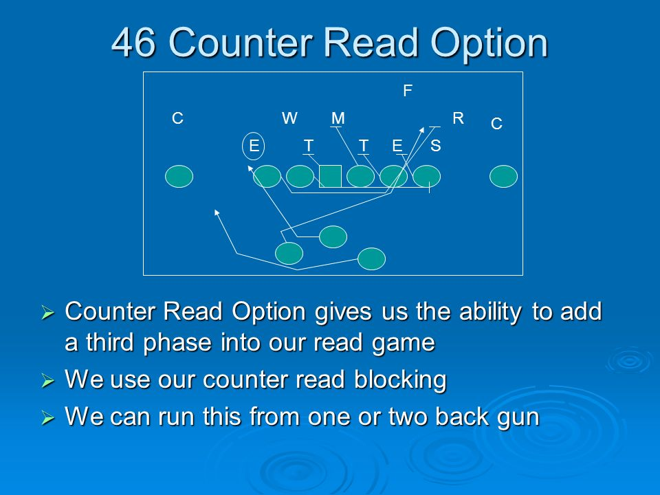 46 Counter Read Option F. C. W. M. R. C. E. T. T. E. S. Counter Read Option gives us the ability to add a third phase into our read game.