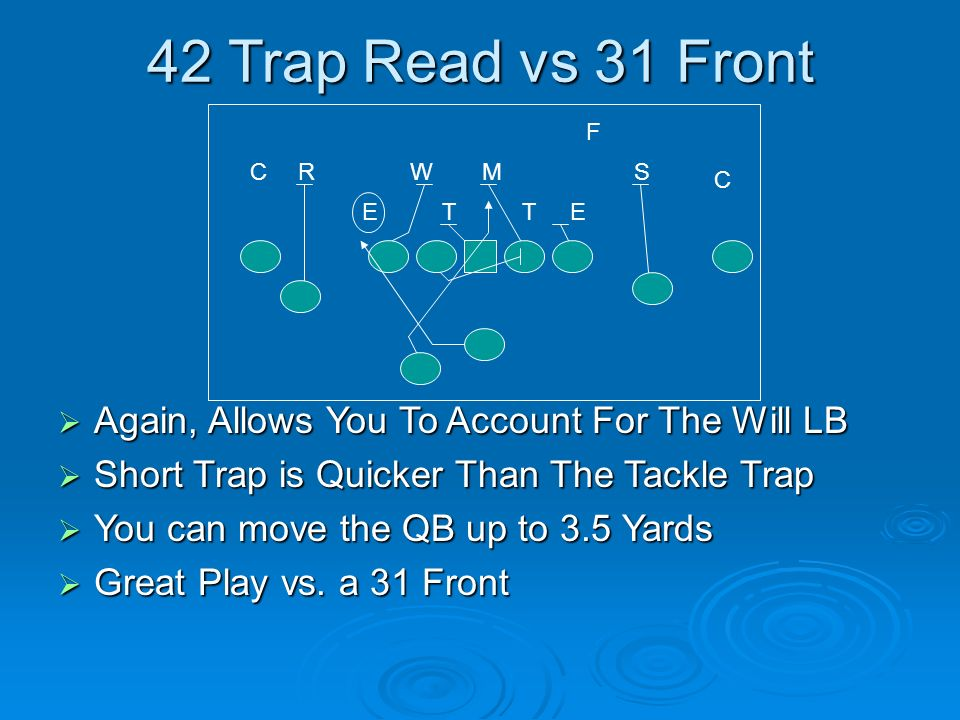 42 Trap Read vs 31 Front Again, Allows You To Account For The Will LB