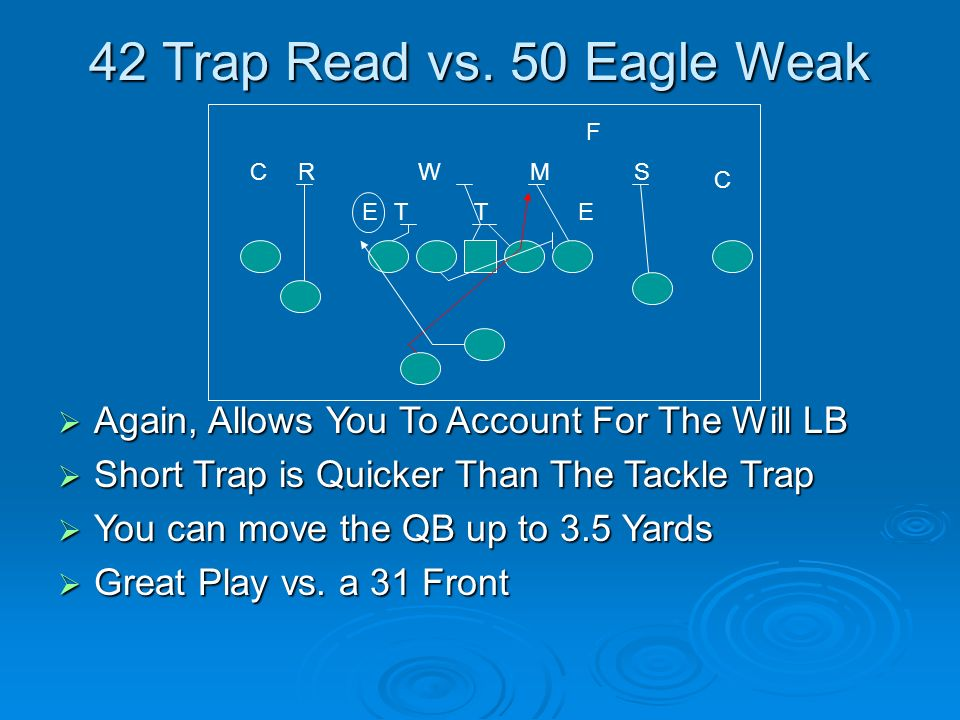 42 Trap Read vs. 50 Eagle Weak F. C. R. W. M. S. C. E. T. T. E. Again, Allows You To Account For The Will LB.
