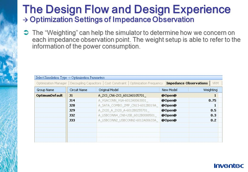 The Design Flow and Design Experience  Optimization Settings of Impedance Observation