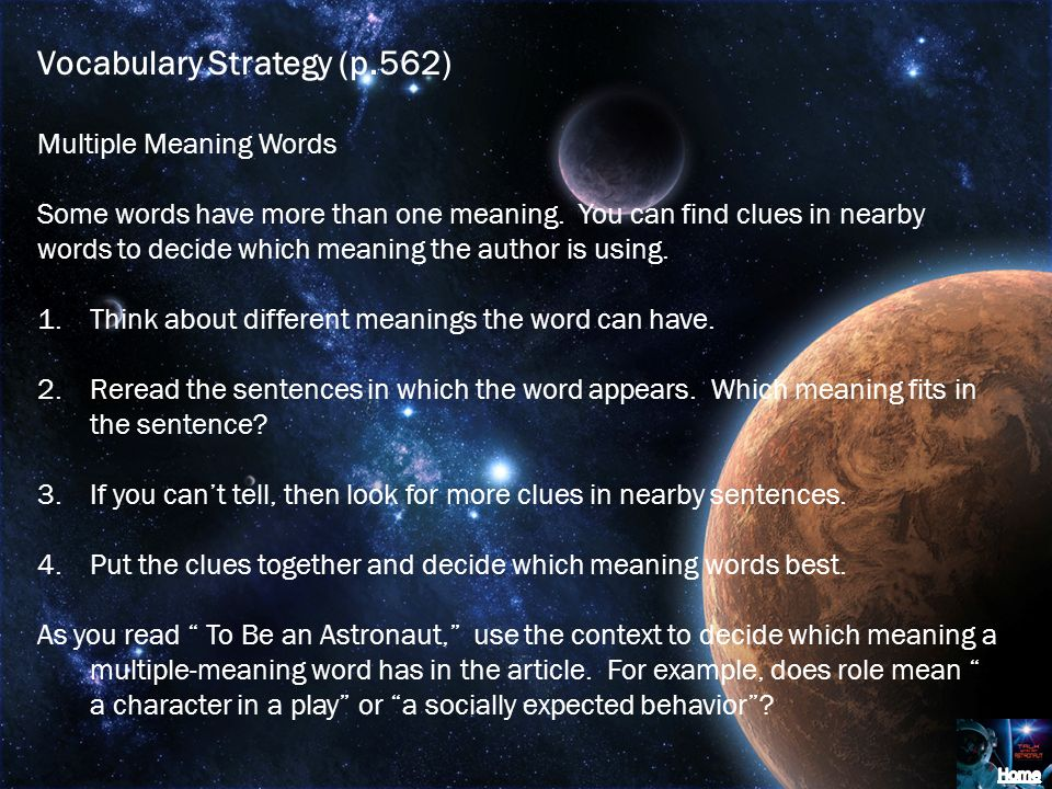 Vocabulary Strategy (p.562)