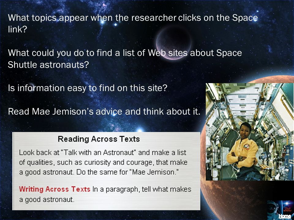 What topics appear when the researcher clicks on the Space link