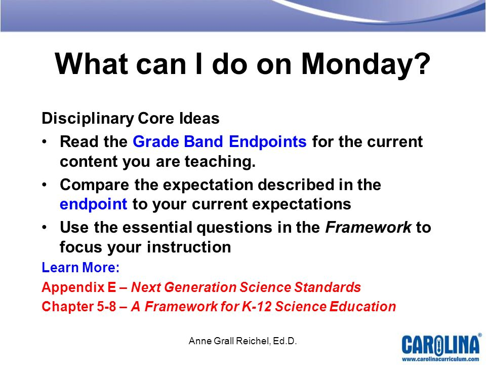 What can I do on Monday Disciplinary Core Ideas