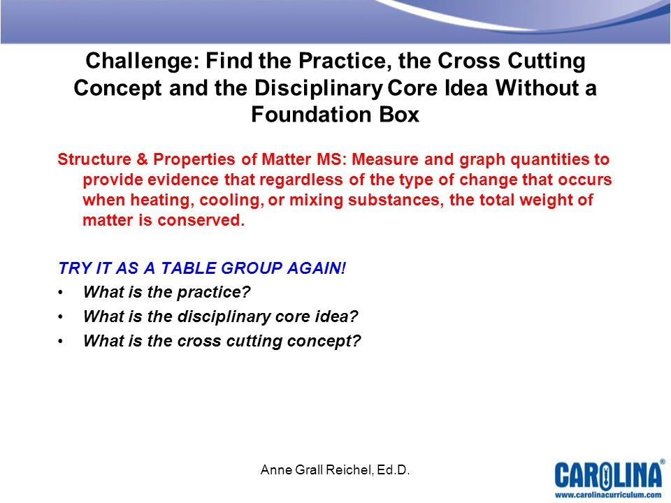 Challenge: Find the Practice, the Cross Cutting Concept and the Disciplinary Core Idea Without a Foundation Box