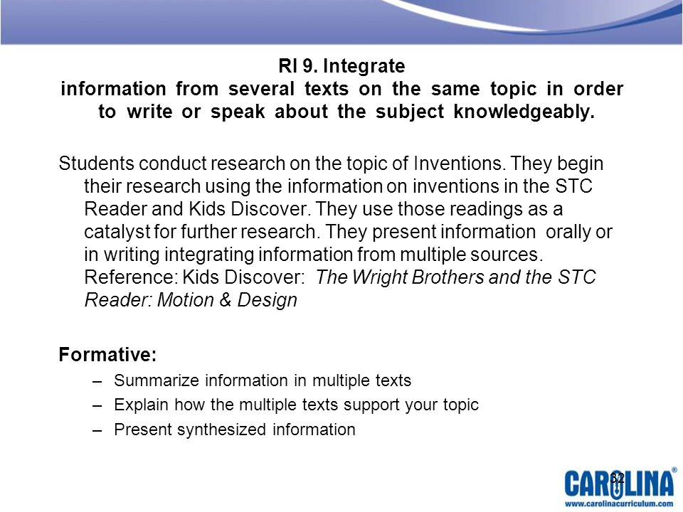 RI 9. Integrate information from several texts on the same topic in order to write or speak about the subject knowledgeably.