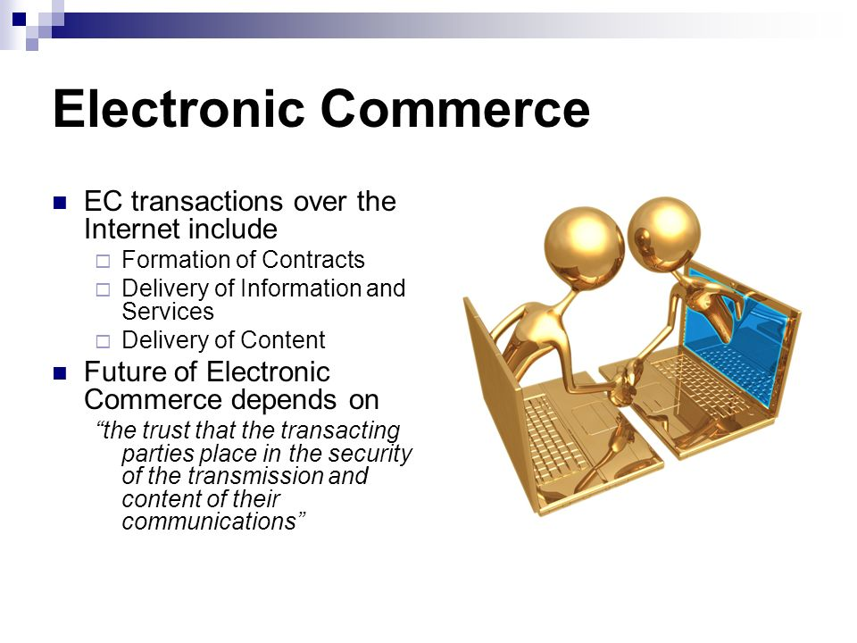 Electronic Commerce EC transactions over the Internet include