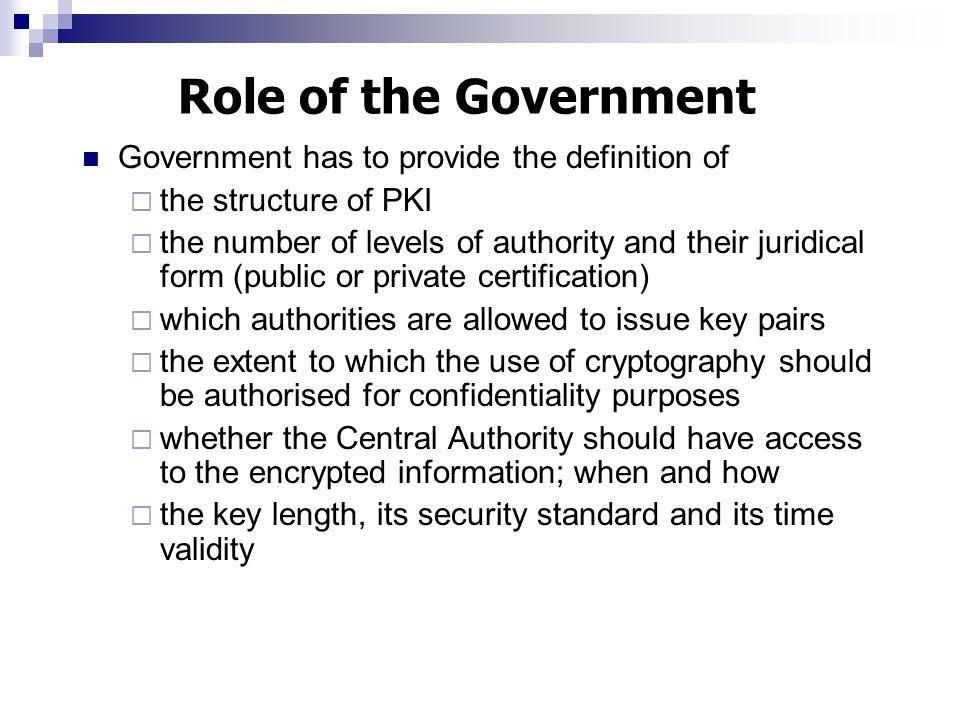 Role of the Government Government has to provide the definition of