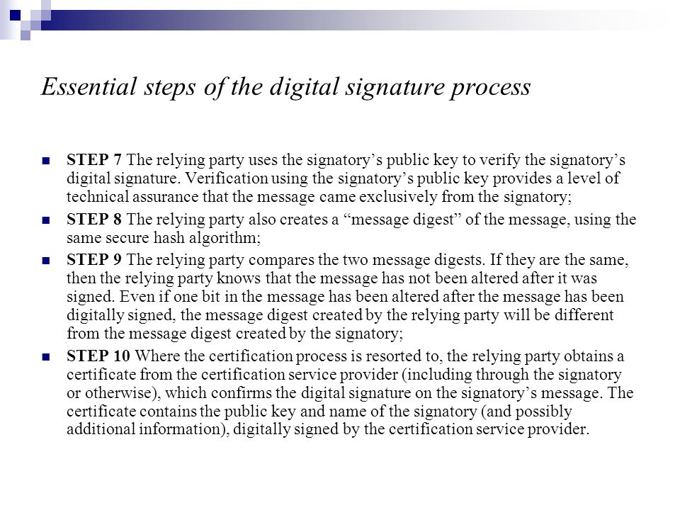 Essential steps of the digital signature process