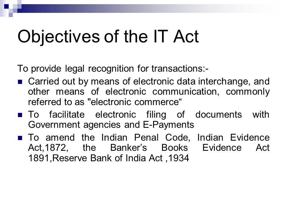 Objectives of the IT Act