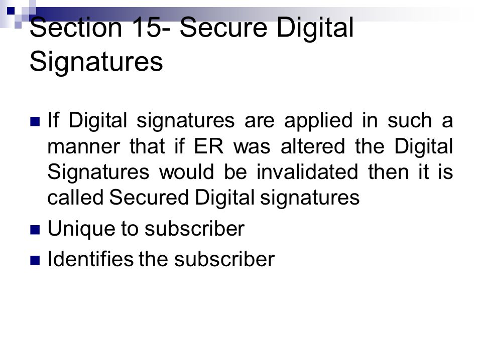 Section 15- Secure Digital Signatures