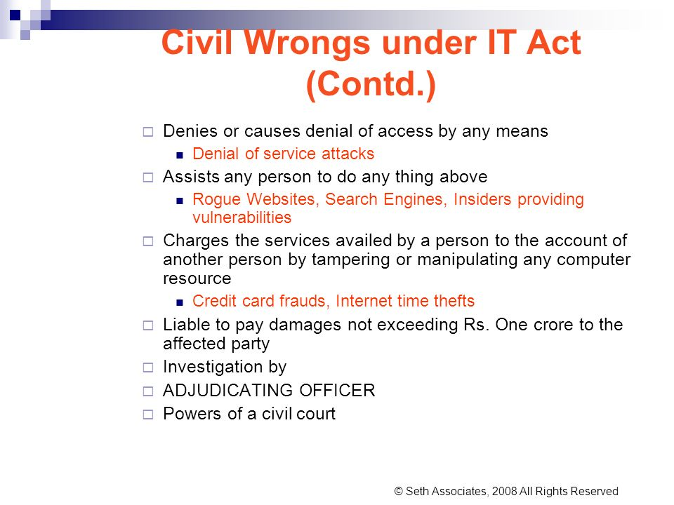 Civil Wrongs under IT Act (Contd.)