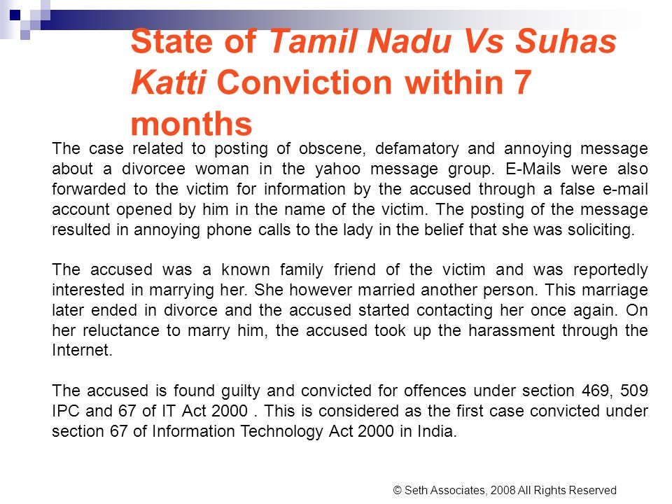State of Tamil Nadu Vs Suhas Katti Conviction within 7 months