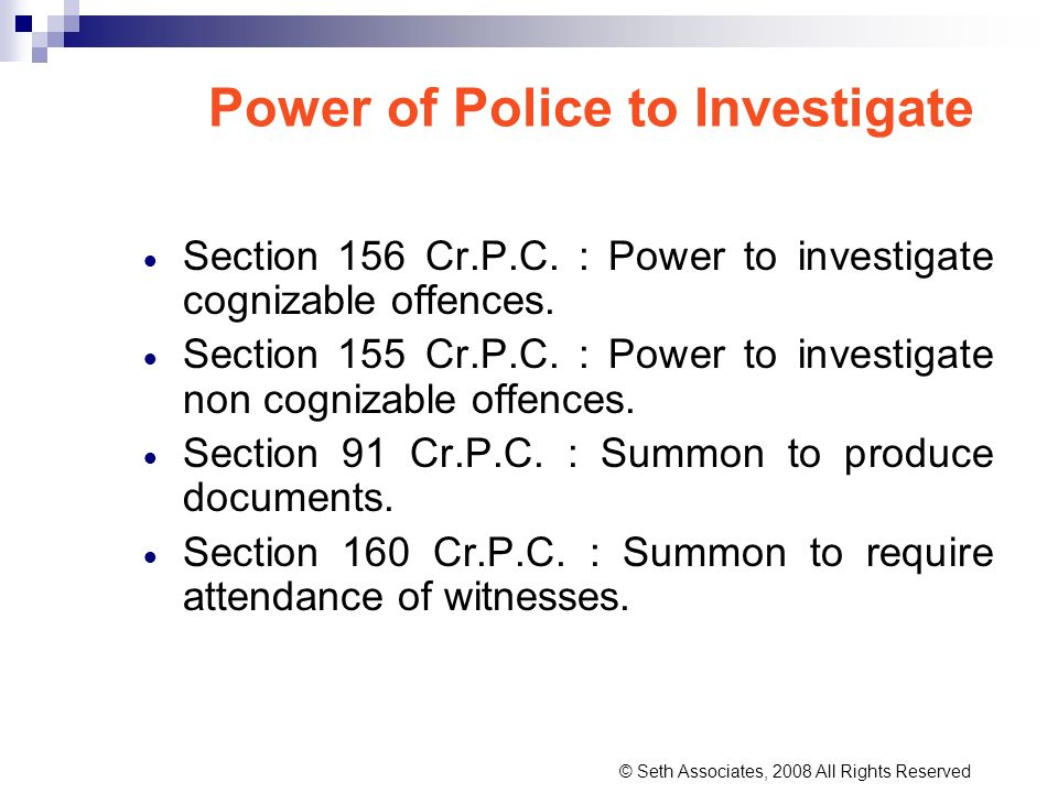 Power of Police to Investigate