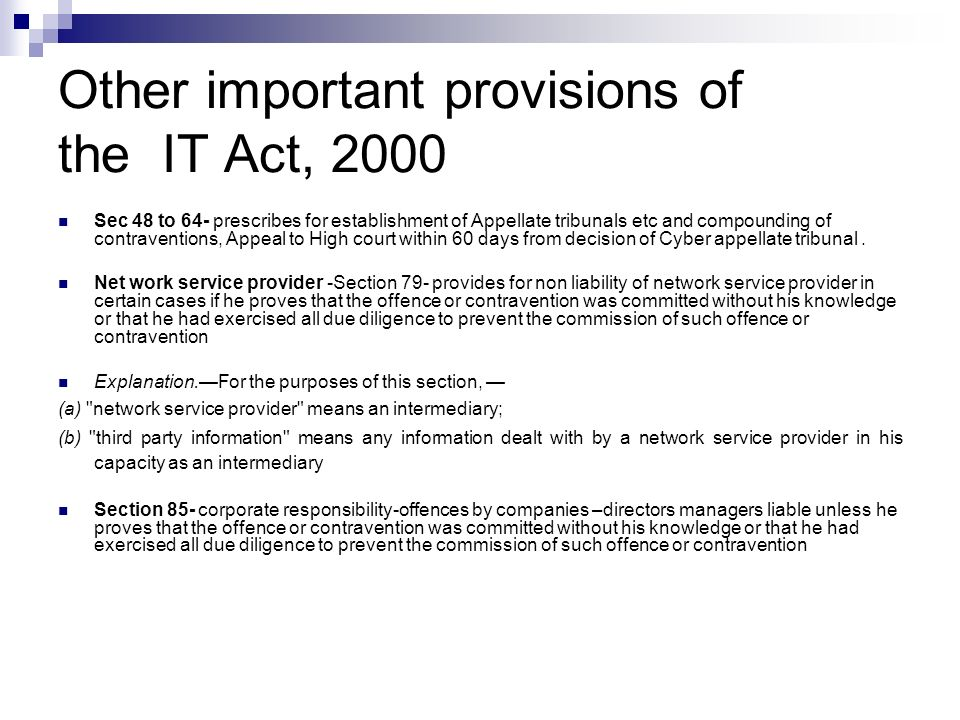 Other important provisions of the IT Act, 2000