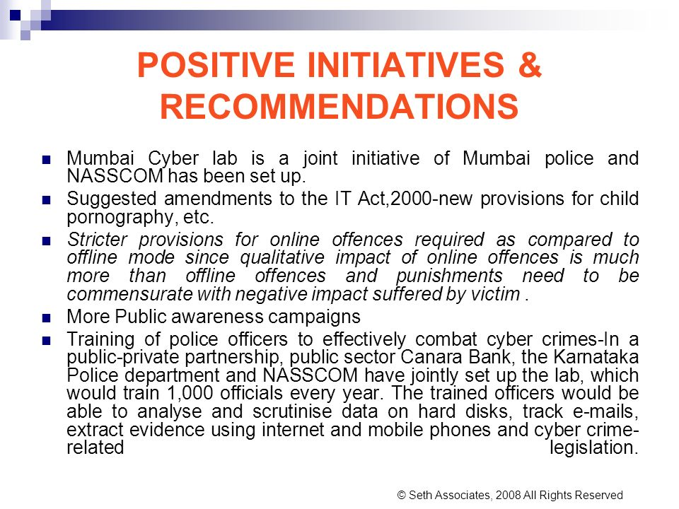 POSITIVE INITIATIVES & RECOMMENDATIONS