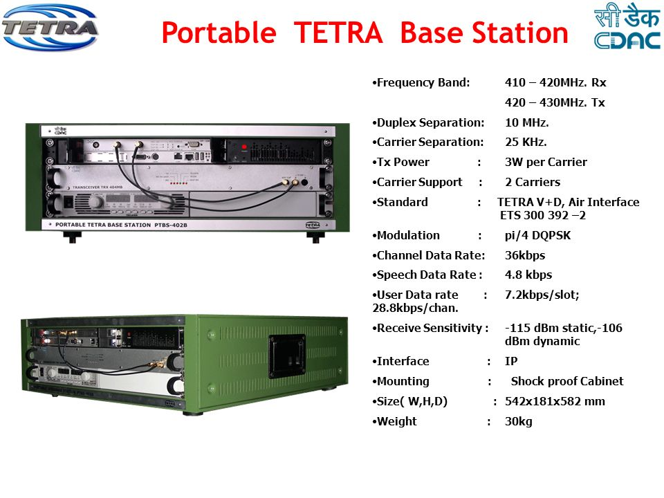 Portable TETRA Base Station