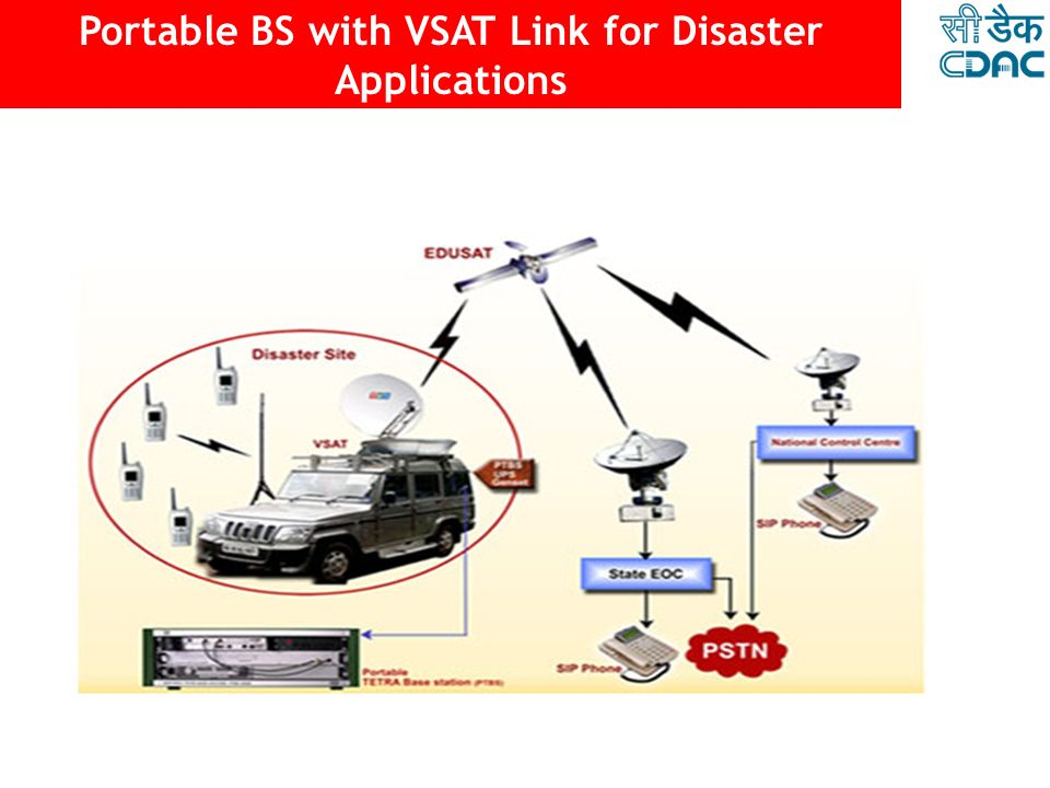 Portable BS with VSAT Link for Disaster Applications