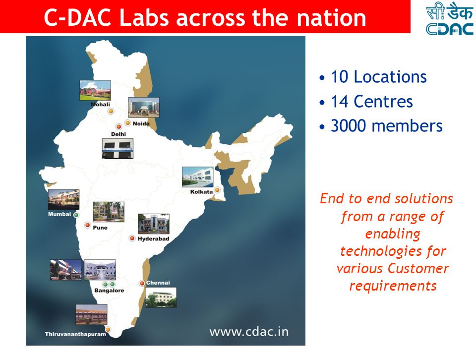 C-DAC Labs across the nation