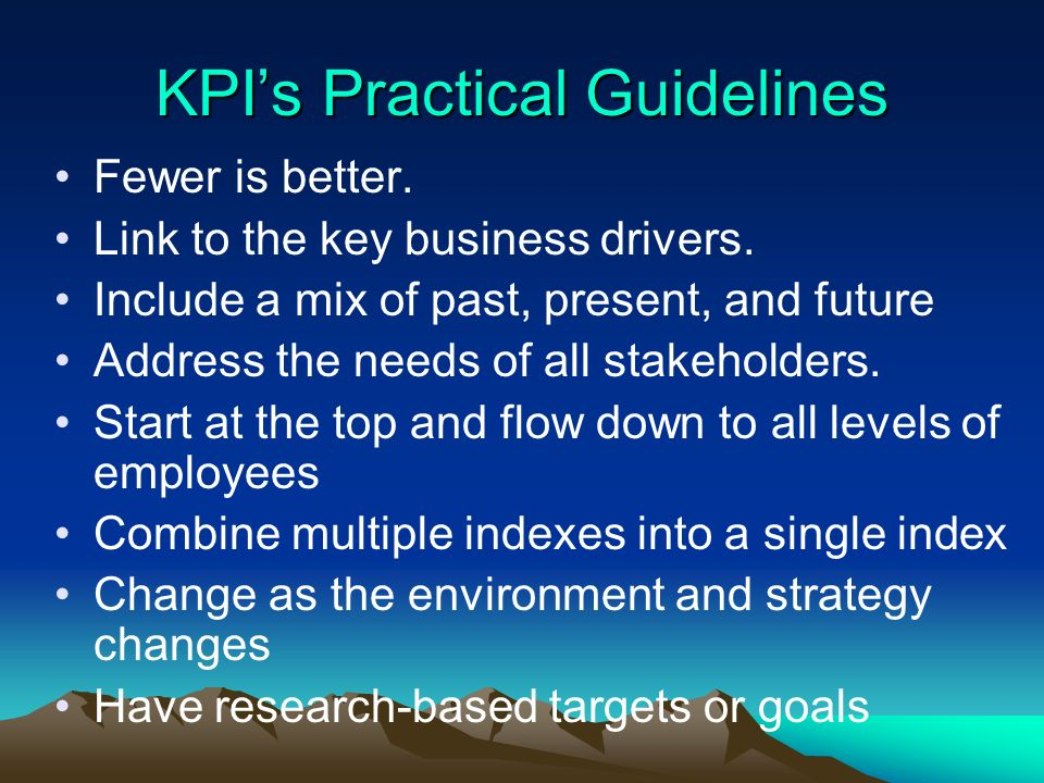 KPI's Practical Guidelines