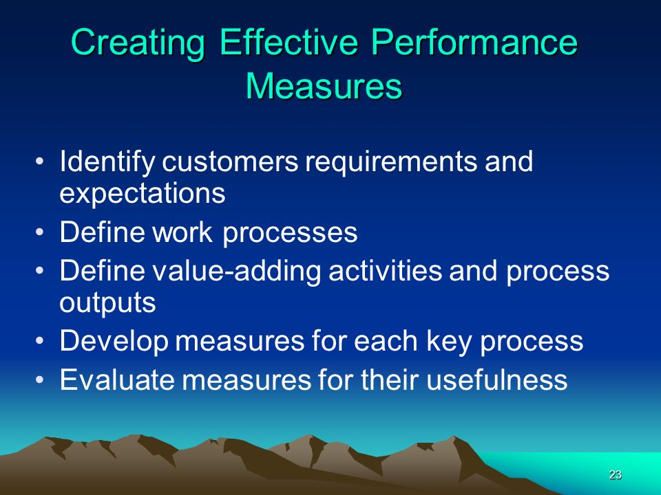 Creating Effective Performance Measures
