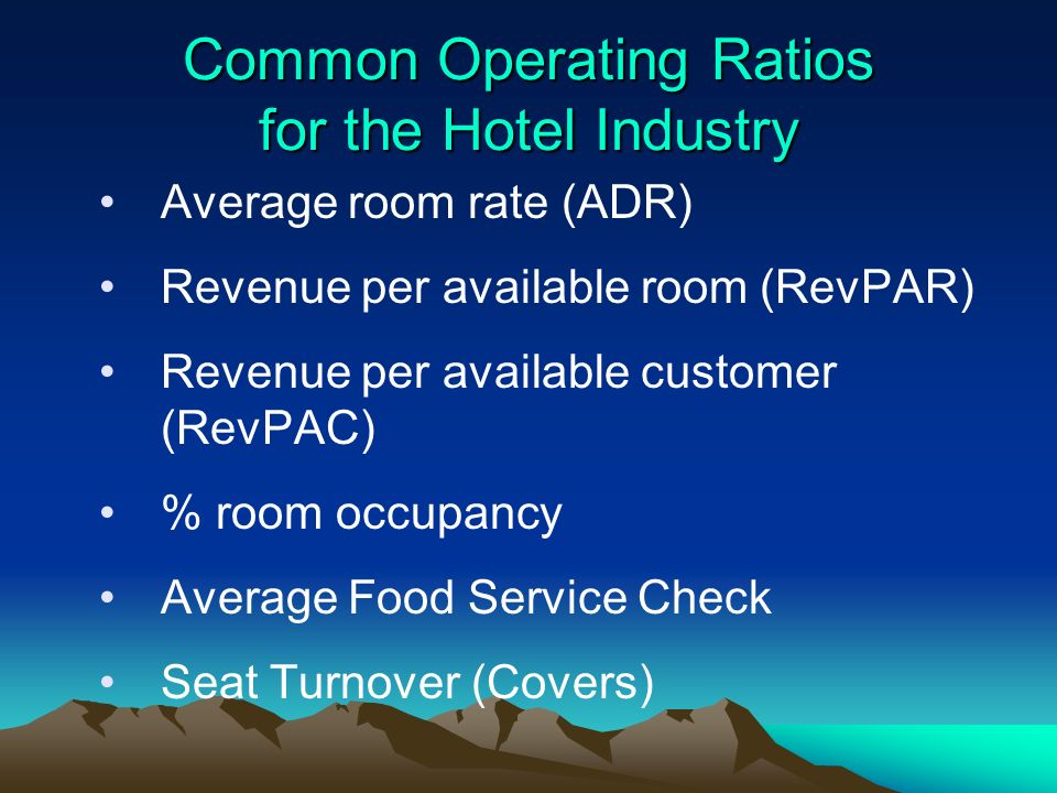 Common Operating Ratios for the Hotel Industry
