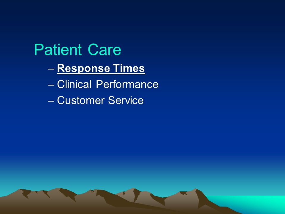 Patient Care Response Times Clinical Performance Customer Service