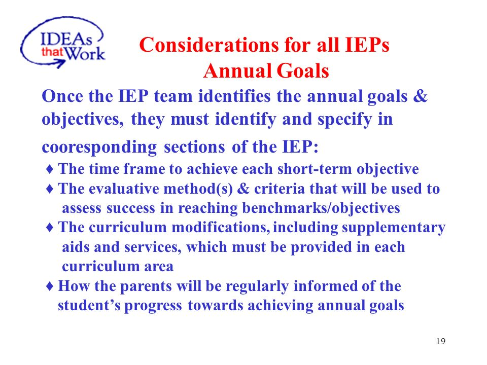Considerations for all IEPs Annual Goals