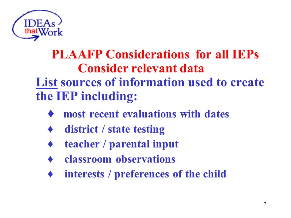 This Presentation will Focus on Completing Key Sections of the IEP with Guidelines and Sample Statements