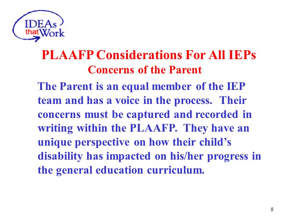 Present Levels of Academic Achievement and Functional Performance (PLAAFP)