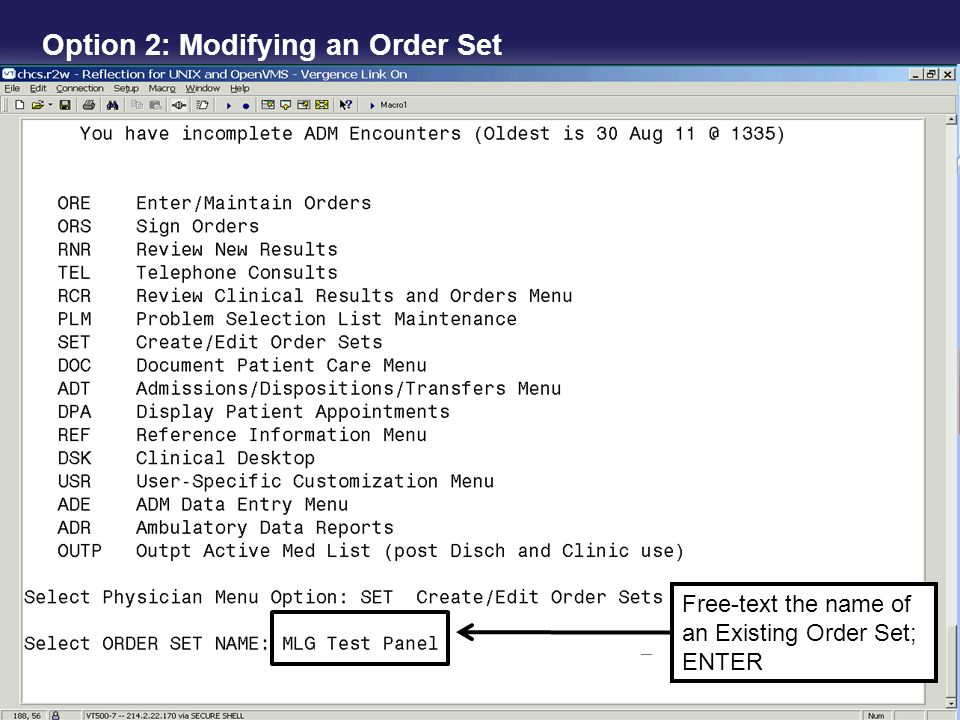 Option 2: Modifying an Order Set