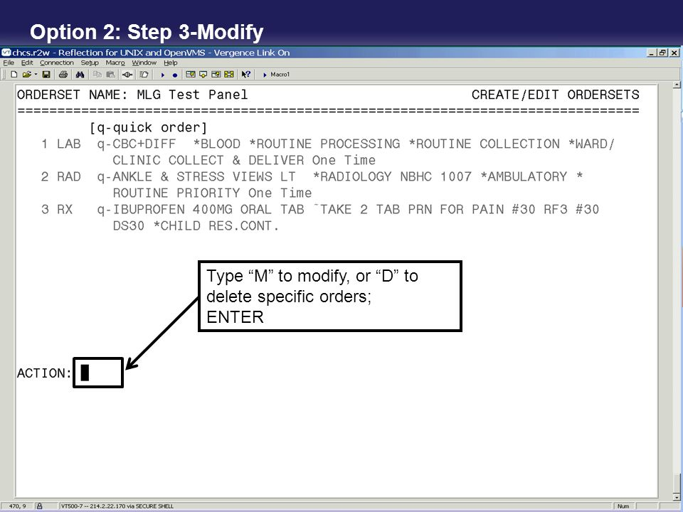 Option 2: Step 3-Modify Type M to modify, or D to delete specific orders; ENTER