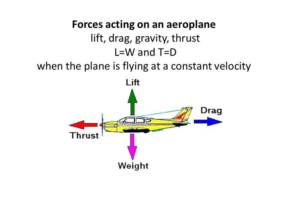 Forces acting on an aeroplane lift, drag, gravity, thrust L=W and T=D when the plane is flying at a constant velocity