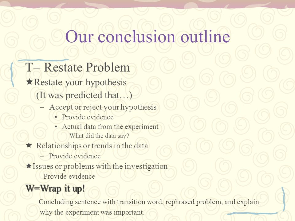 Our conclusion outline