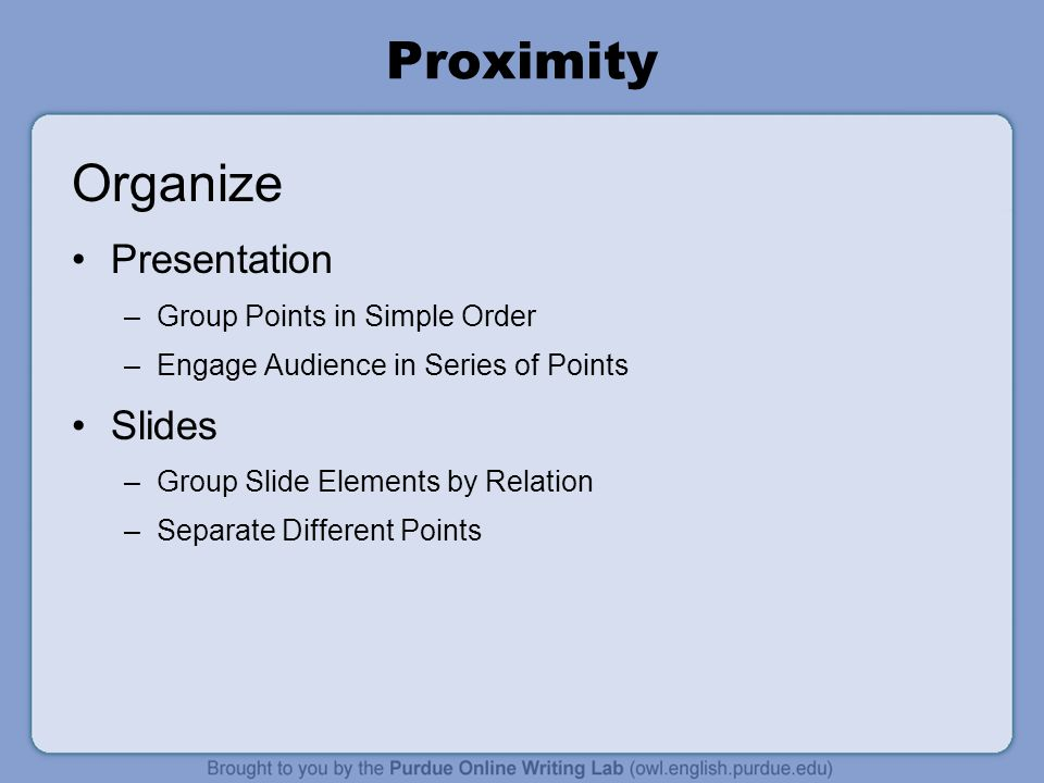 Proximity Organize Presentation Slides Group Points in Simple Order