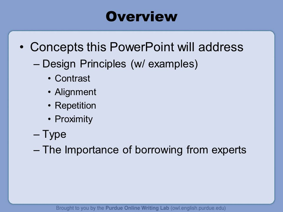 Overview Concepts this PowerPoint will address