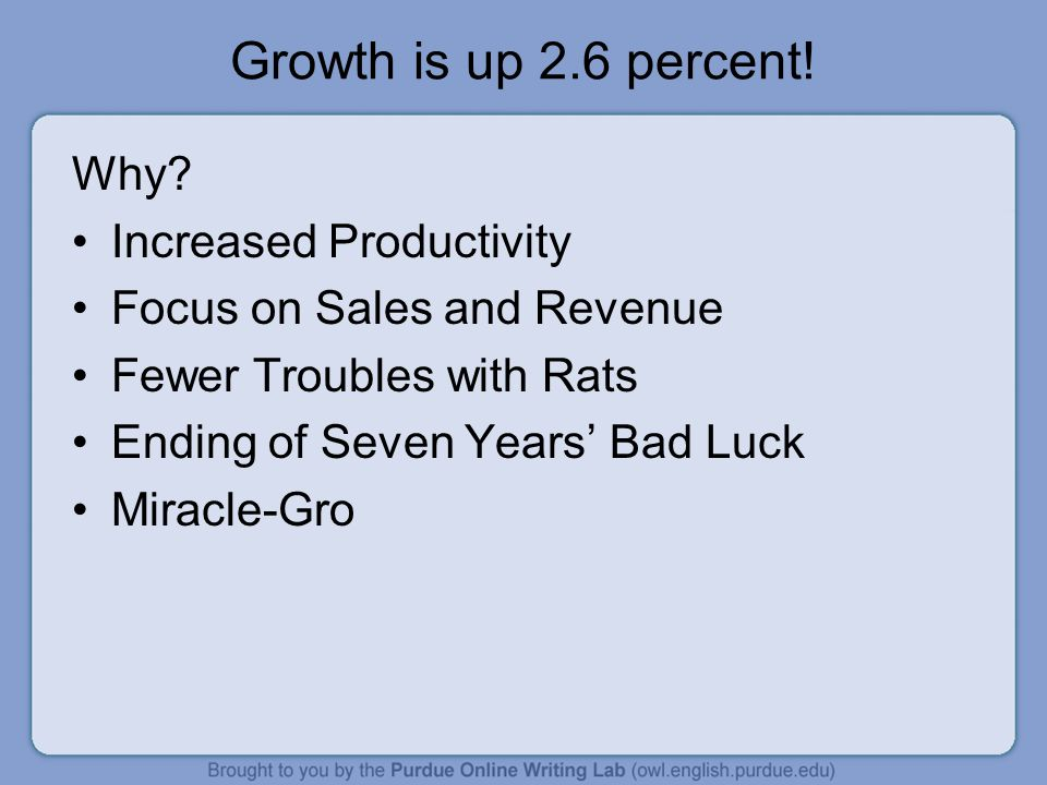 Growth is up 2.6 percent! Why Increased Productivity