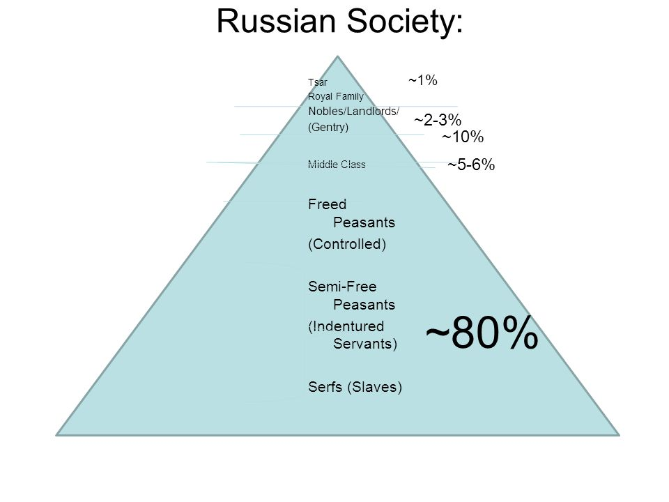 ~80% Russian Society: ~2-3% ~10% ~5-6% ~1% Freed Peasants (Controlled)