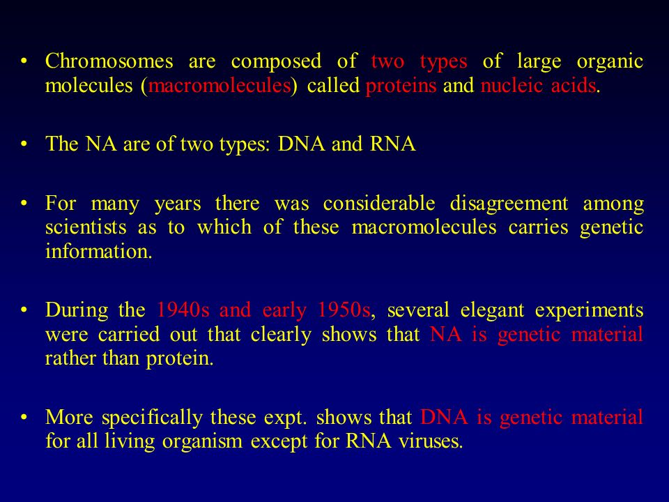 Chromosomes are composed of two types of large organic molecules (macromolecules) called proteins and nucleic acids.