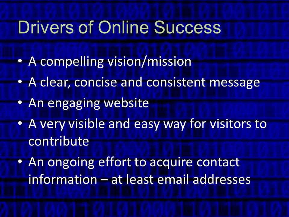 Drivers of Online Success