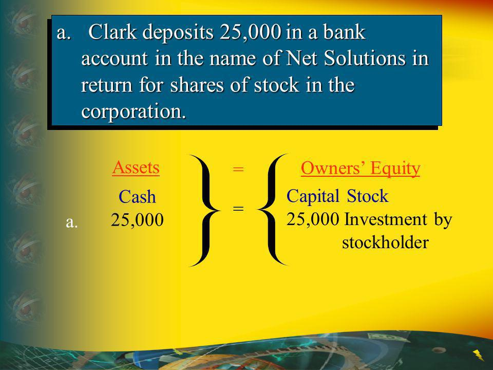 a. Clark deposits 25,000 in a bank account in the name of Net Solutions in return for shares of stock in the corporation.