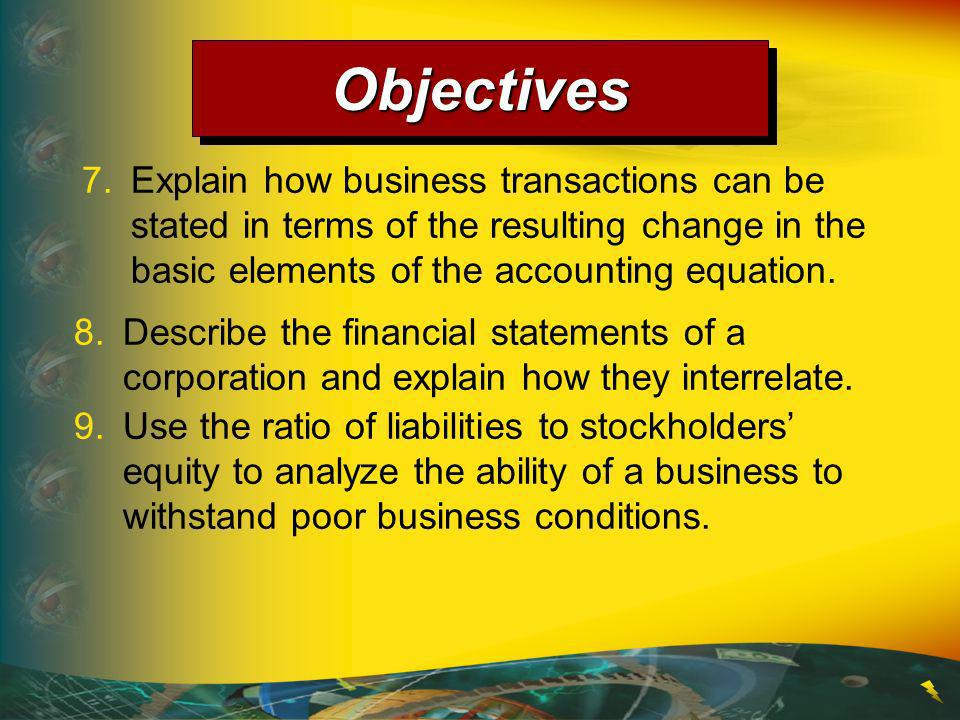 Objectives 7. Explain how business transactions can be stated in terms of the resulting change in the basic elements of the accounting equation.