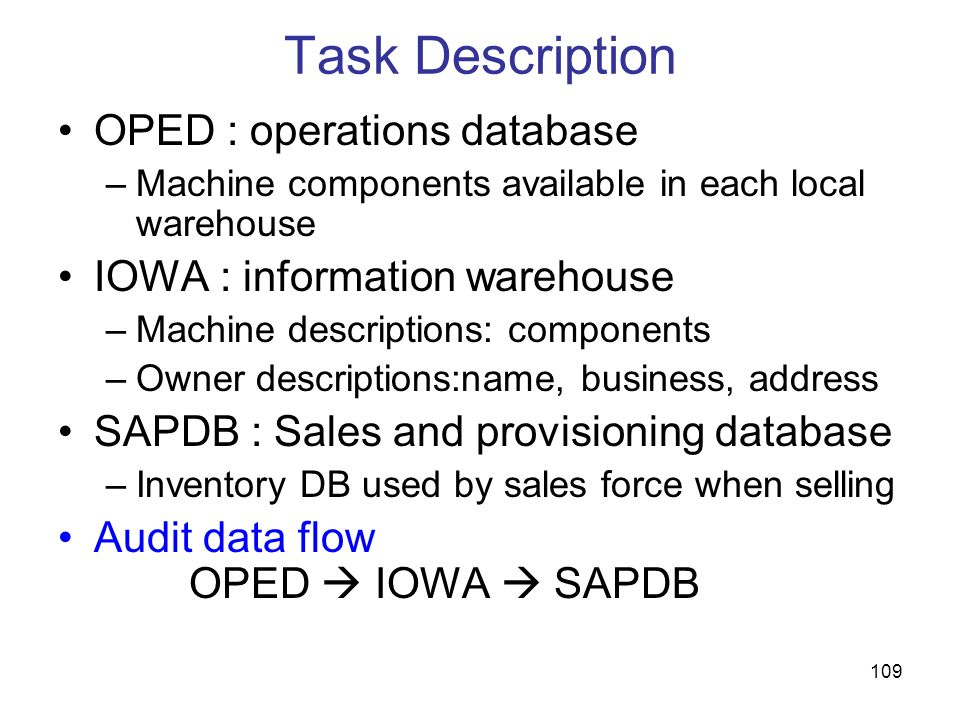 Task Description OPED : operations database