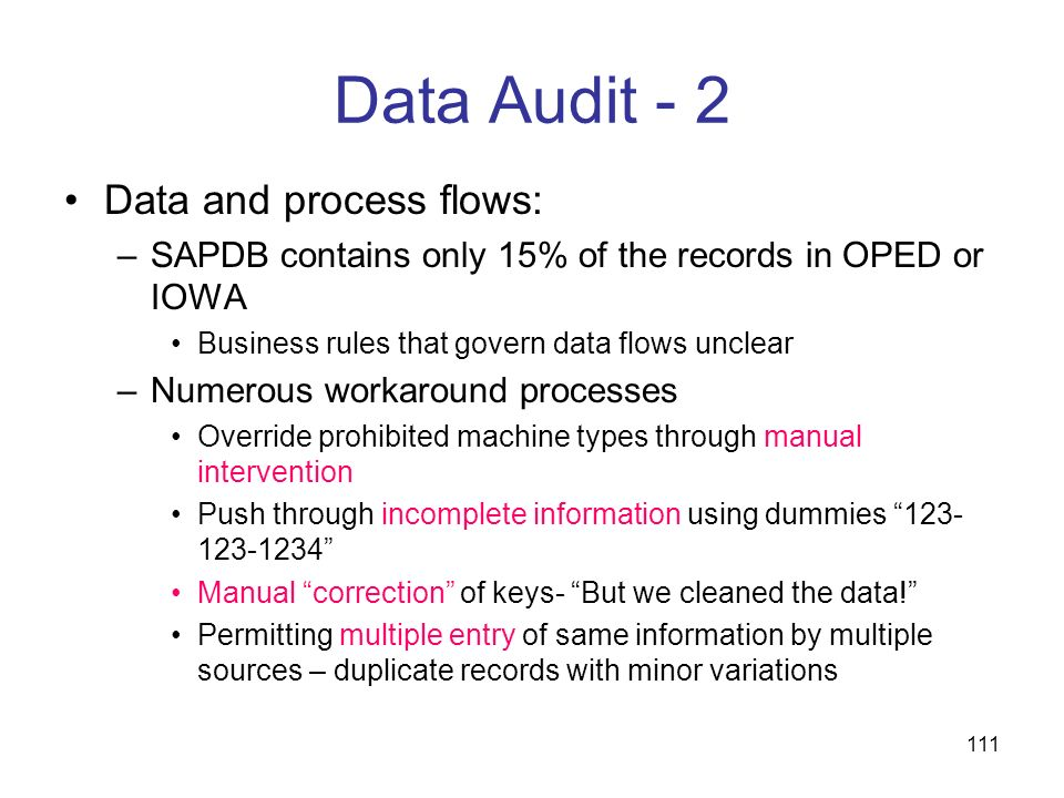 Data Audit - 2 Data and process flows: