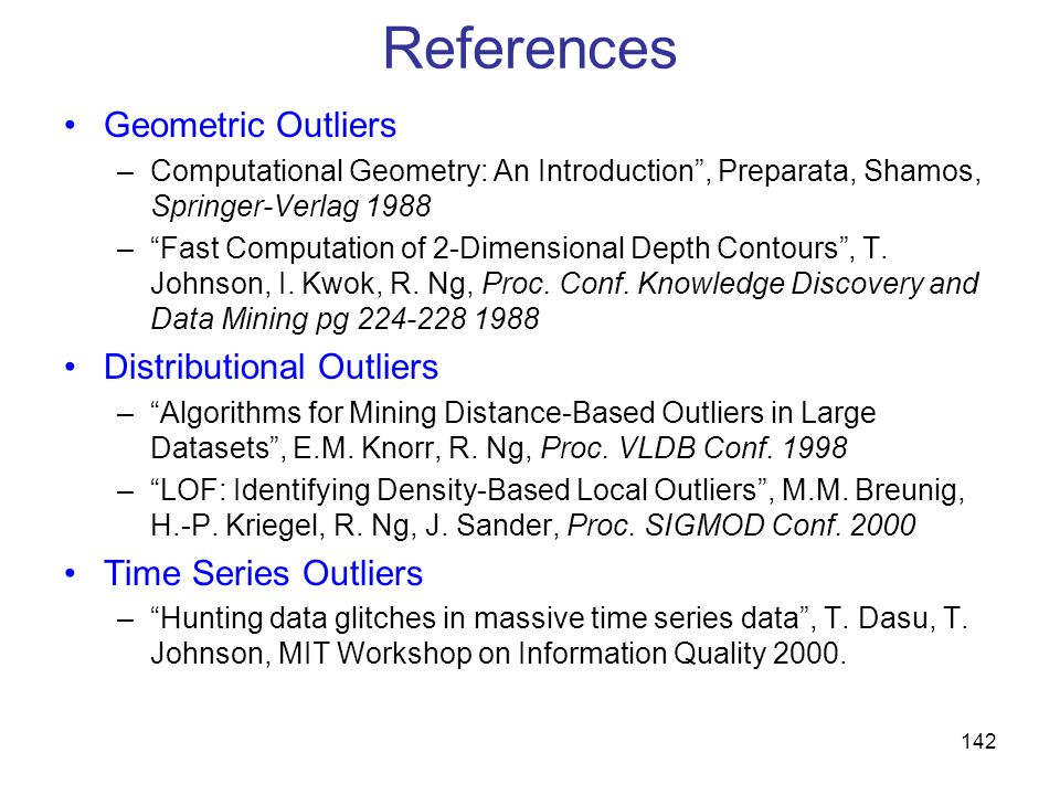 References Geometric Outliers Distributional Outliers