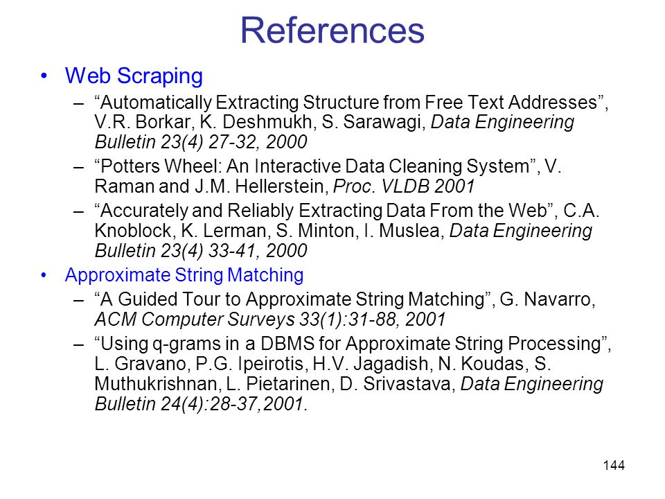 References Web Scraping